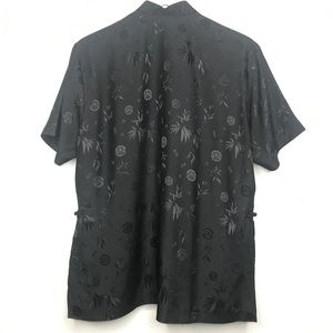 Tops - Asian Black Button Up Shirt A020480